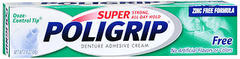 Super PoliGrip Denture Adhesive Cream Artificial Flavor/Color Free - 2.4 Ounces