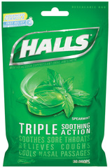 Halls Cough Suppressant/Oral Anesthetic Drops, Spearmint  - 30ea