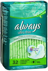 Always Maxi Pads Ultra Long Wings Extra Heavy 6X32 Pack - 32 Each
