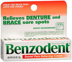 Benzodent Denture Pain Relieving Cream - 0.25 Ounces