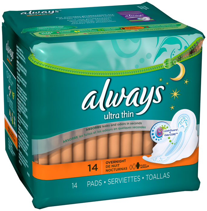 Always Maxi Pads Thin Ultra Overnight Flexi-Wings 12X14 Pack - 14 Each