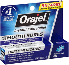 Orajel Mouth Sore Medicine Gel for Cold & Canker Sore Relief, Triple Medicated  - 0.42oz