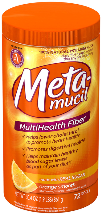 Metamucil MultiHealth Fiber Orange Smooth 72 Doses