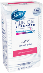 Secret Clinical Strength Anti-Perspirant Deodorant Advanced Solid Powder Protection Scent  -  1.6 OZ