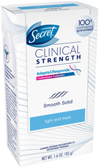 Secret Clinical Strength Anti-Perspirant Deodorant Advanced Solid Light and Fresh Scent  -  1.6 OZ