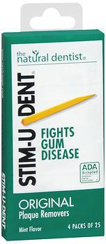Stim-U-Dent Plaque Removers, Mint Flavor - 4 Packs of 25