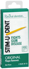 Stim-U-Dent Plaque Removers, Mint Flavor - 4 Packs of 25