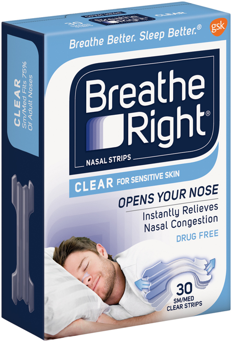 Breathe Right Clear Nasal Strips SM/MED  - 30 Ea