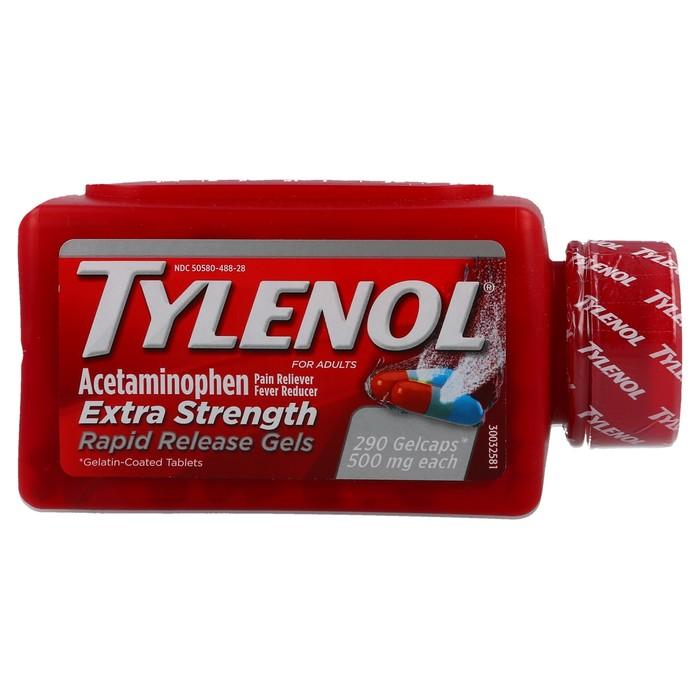 Tylenol Extra Strength Rapid Release Gels - 290 GelCaps (500mg each) - Acetaminophen / Pain Reliever / Fever Reducer