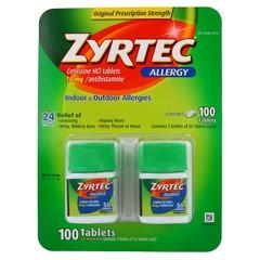 Zyrtec Allergy Value Pack - Cetirizine HCI 10 MG / Antihistamine - 100 Tablets
