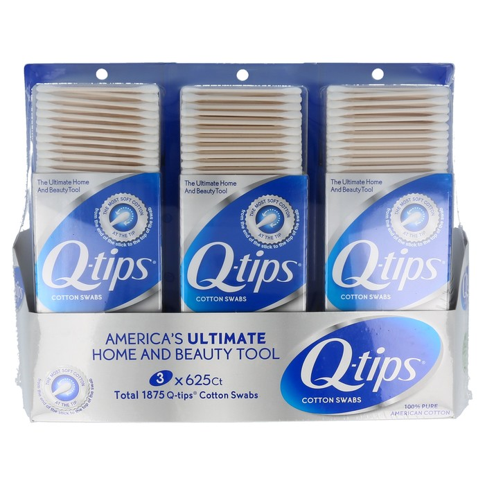 Q-TIPS 100% PURE COTTON SWABS TRI-PACK - 1875 CT (Incl. 3 Containers of 625 Swabs each)