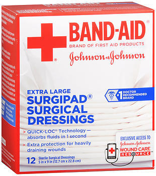 BAND-AID Surgipad Surgical Dressings Extra Large 5 in x 9 in
