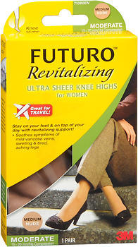 FUTURO Revitalizing Ultra Sheer Knee Highs for Women Medium Nude Moderate Compression