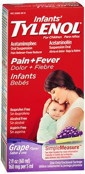 TYLENOL Infants' Pain + Fever Oral Suspension Grape Flavor