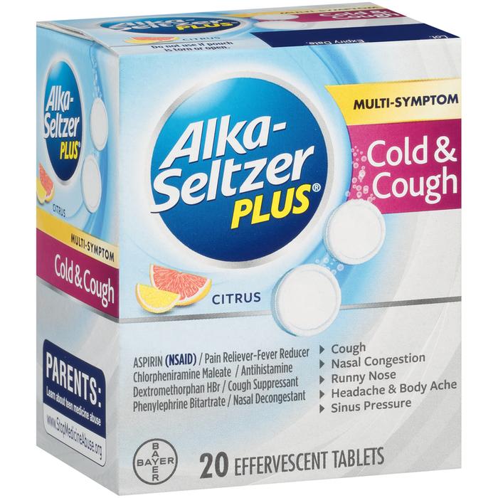 Alka-Seltzer Plus Cold & Cough Formula Effervescent Tablets Citrus - 20 TAB