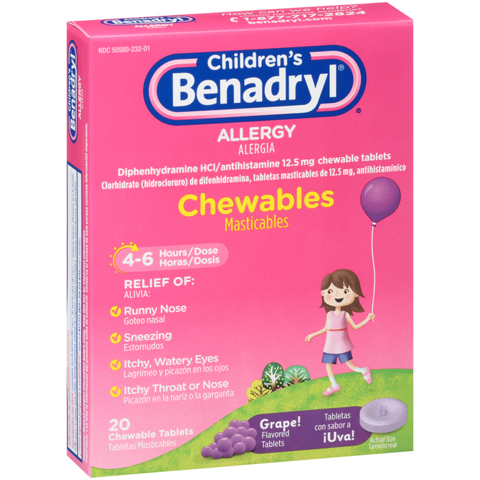Benadryl Children's Allergy Chewable Tablets Grape Flavored - 20 TAB