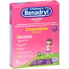 Benadryl Children's Allergy Chewable Tablets Grape Flavored - 20 TAB