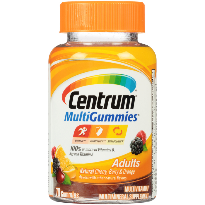 Centrum MultiGummies Adults Multivitamin/Multimineral Supplement Assorted Flavors - 70 EACH
