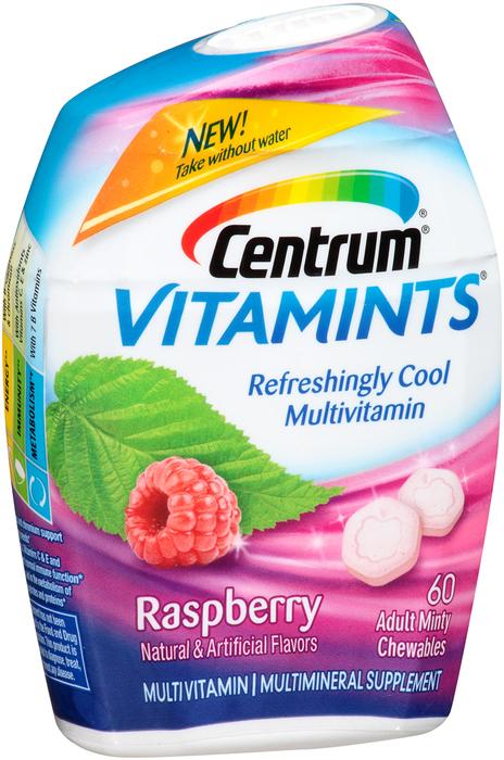 Centrum Vitamints Multivitamin Supplement Adult Minty Chewables Raspberry - 60 UNIT