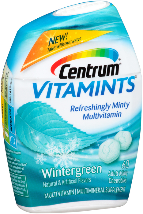 Centrum Vitamints Multivitamin Supplement Adult Minty Chewables Wintergreen - 60 UNIT