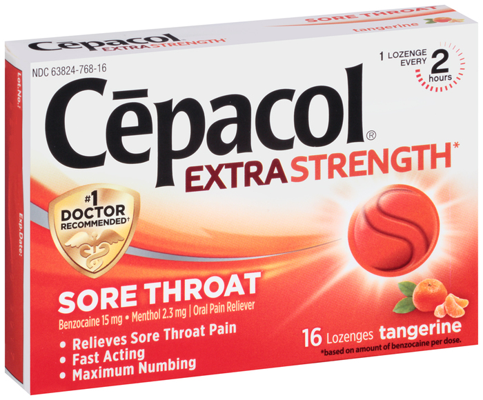Cepacol Sore Throat Lozenges Extra Strength Tangerine - 16 EACH