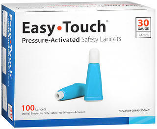 Easy Touch Pressure-Activated Safety Lancets 30 Gauge - 100 EACH