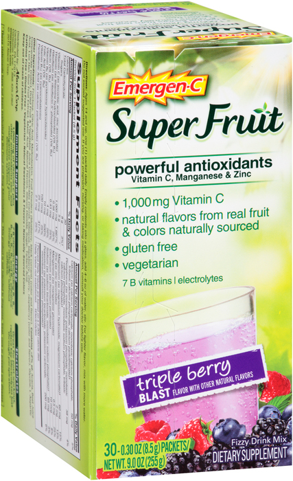 Emergen-C Super Fruit Powerful Antioxidants Fizzy Drink Mix Triple Berry Blast Flavor - 30 EACH