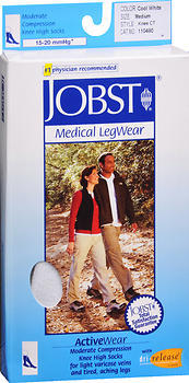 JOBST ActiveWear Knee High Socks Moderate Compression Closed Toe Cool White Medium - 1 EACH