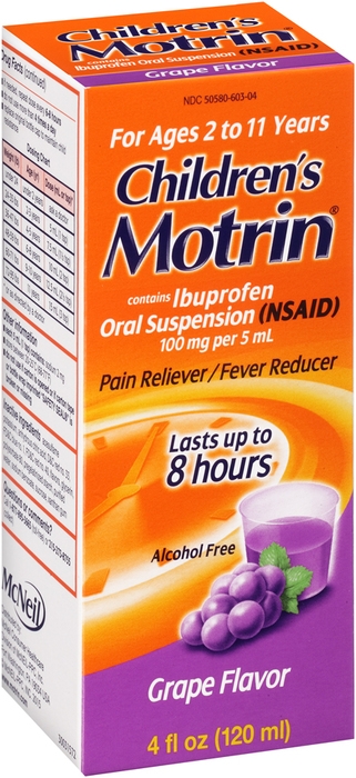 Motrin Children's Oral Suspension Grape Flavor - 4 OUNCE