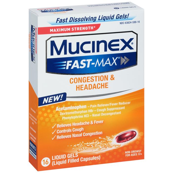 Mucinex Fast-Max Congestion & Headache Liquid Gels - 16 CAP