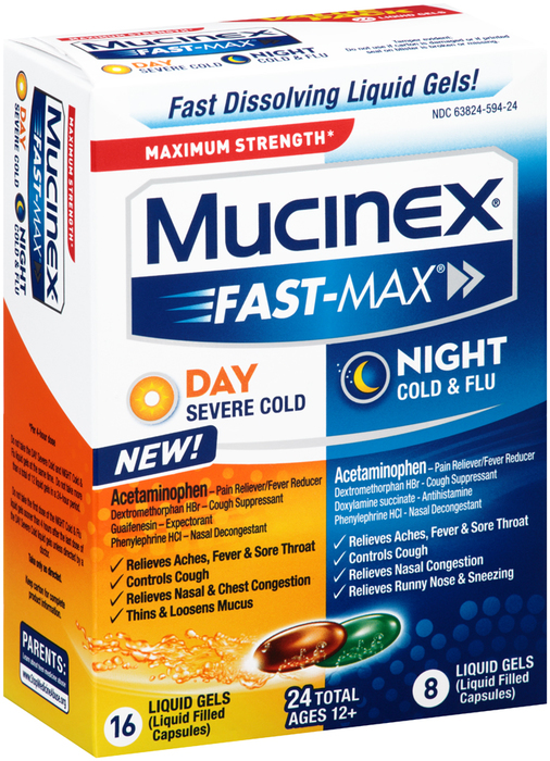 Mucinex Fast-Max Day Severe Cold & Night Cold & Flu Liquid Gels - 24 CAP