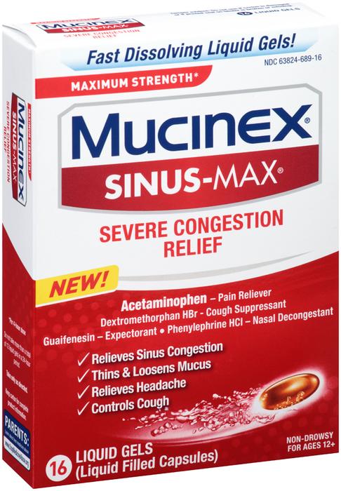 Mucinex Sinus-Max Severe Congestion Relief Liquid Gels - 16 CAP
