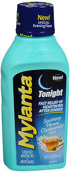 Mylanta Tonight Liquid Antacid + Anti-Gas Soothing Honey Chamomile Flavor - 12 OUNCE