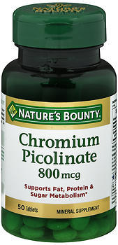 Nature's Bounty Chromium Picolinate 800 mcg Tablets - 50 TAB