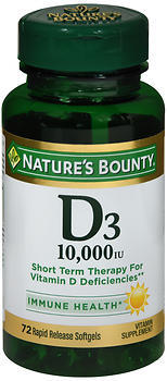 Nature's Bounty D3 10,000 IU Rapid Release Softgels - 72 TAB