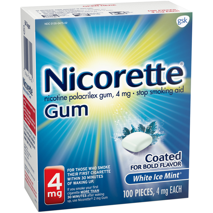 Nicorette Gum 4 mg White Ice Mint - 100 EACH