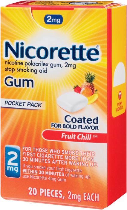Nicorette Nicotine Polacrilex Gum 2 mg Fruit Chill - 20 EACH