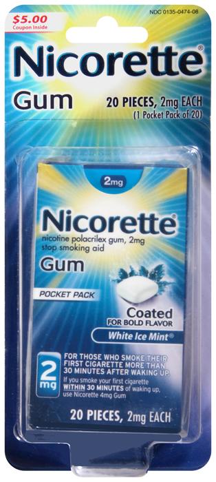 Nicorette Nicotine Polacrilex Gum 2 mg White Ice Mint - 20 EACH