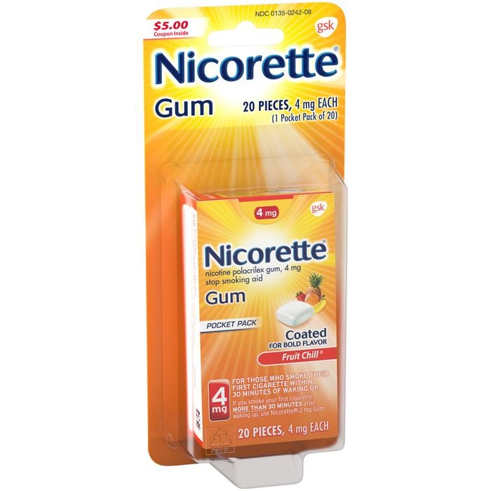 Nicorette Nicotine Polacrilex Gum 4 mg Fruit Chill - 20 EACH