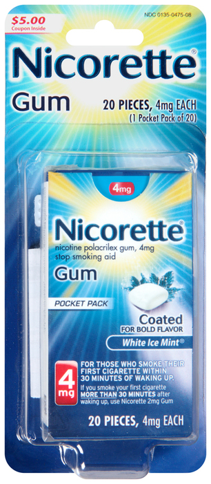 Nicorette Nicotine Polacrilex Gum 4 mg White Ice Mint - 20 EACH