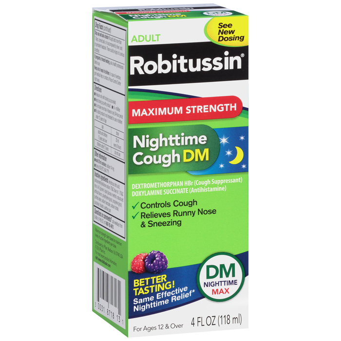 Robitussin Adult Nighttime Cough DM Liquid Maximum Strength - 4 OUNCE