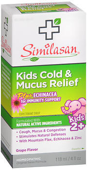 Similasan Kids Cold & Mucus Relief plus Echinacea for Immunity Support Syrup Grape Flavor - 4 OUNCE