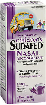Sudafed Children's Nasal Decongestant Liquid Grape Flavor - 4 OUNCE