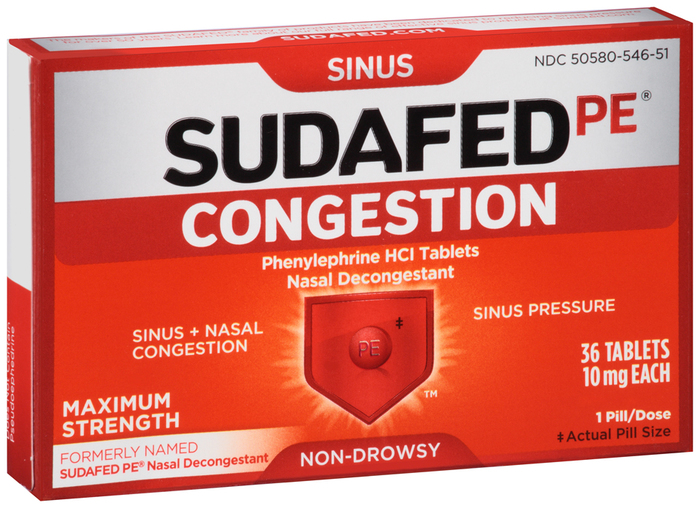 SUDAFED PE Congestion Tablets - 36 TAB
