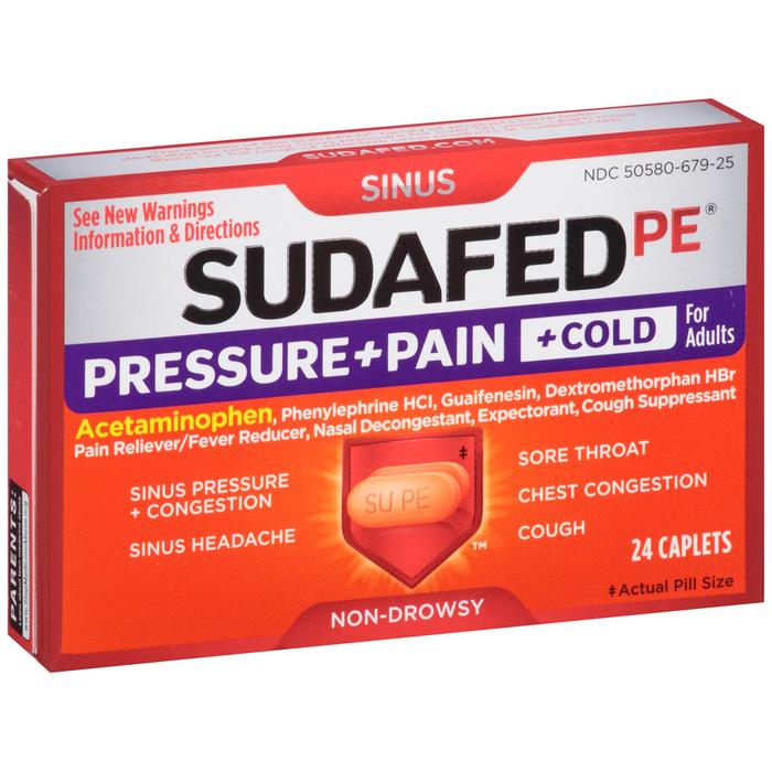 SUDAFED PE Pressure + Pain + Cold Caplets - 24 TAB