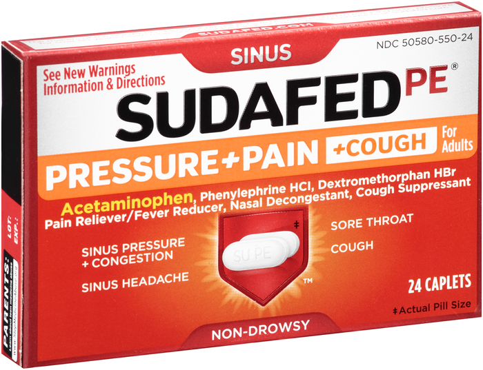 Sudafed PE Pressure + Pain + Cough for Adults Caplets - 24 TAB