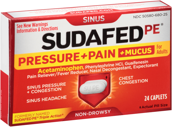 SUDAFED PE Pressure + Pain + Mucus for Adults Caplets - 24 TAB