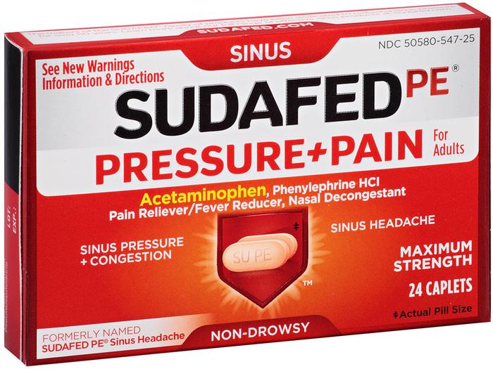 SUDAFED PE Pressure + Pain Caplets - 24 TAB