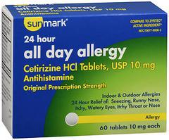 Sunmark 24 Hour All Day Allergy Tablets - 60 TAB