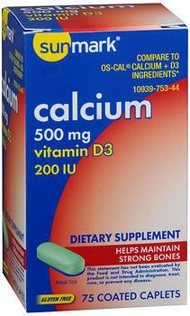 Sunmark Calcium 500 mg Vitamin D3 200 IU Caplets - 75 CAP